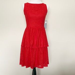 London Times Red Lace Tiered Dress NWT